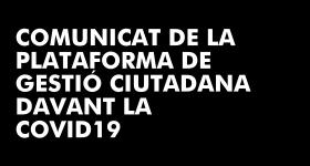 La Plataforma de Gestió Ciutadana davant la Covid19